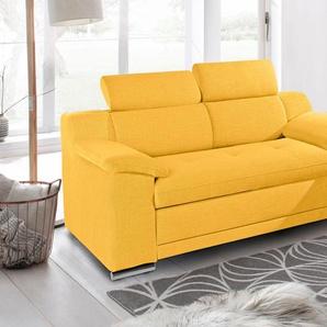 Sit&more Zweisitzer, gelb, B/H/T: 180x43x58cm, hoher Sitzkomfort