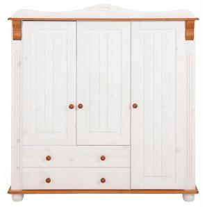 Home affaire Mehrzweckschrank »Adele« aus massiver Kiefer, weiß, 130 cm x 135 cm x 40 cm