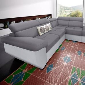 COTTA Ecksofa, wahlweise mit Bettfunktion, grau, Kunstleder SOFTLUX® / Luxus-Microfaser