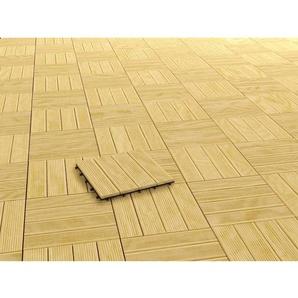 Klickfliese Holz Natur lasiert 2,5 cm x 30 cm x 30 cm 4 Stück