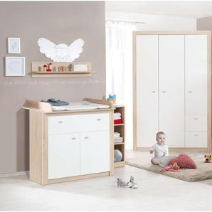 JUSTyou Viggo Kinderzimmer-Set Kinderzimmermöbel Komplett Weiß Sonoma Eiche
