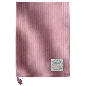 Krasilnikoff - Geschirrtuch - Trockentuch - Küchentuch - rot-weiß- gestreift - 100 % Baumwolle 50 x 70 cm