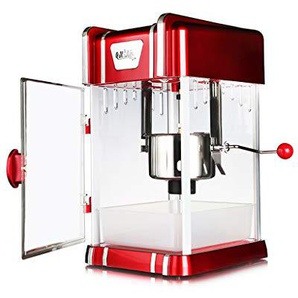 DUANJY Elektrische Popcorn-Maschine, rostfreier Stahl-Topf mit integrierter Mischmaschine, Nicht Fettes Popcorn, Verbraucher und Werbung (rot)