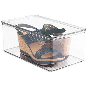 mDesign stapelbarer Schuhkasten – der transparente Schuhkarton, praktische Schuhaufbewahrung mit Deckel