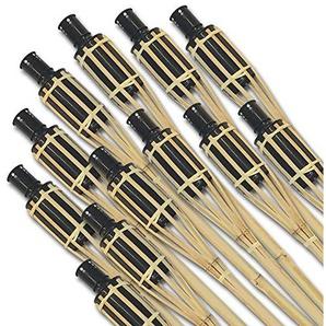 SPAR-SET: 12x riesige XXL Bambus Gartenfackeln 120 cm für eine stimmungsvolle Beleuchtung - Party Garten Outdoor Hochzeit (12 Stk.)