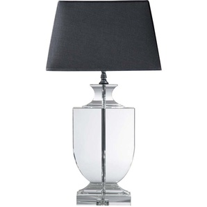 Lampe MIRANO aus Kristall mit Lampenschirm aus Baumwolle, H65, schwarz