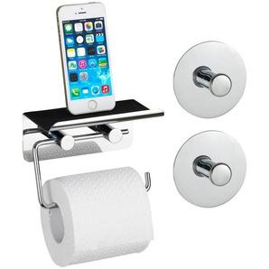 WENKO Toilettenpapierhalter »Smart«, mit Smartphone-Ablage, inkl. 2 Turbo-Loc-Haken