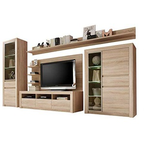 trendteam smart living Wohnzimmer 5-teilige Set Kombination Sevilla, 342 x 200 x 51 cm in Eiche Sägerau Hell Dekor mit LED Glasbodenbeleuchtung in Warm Weiß