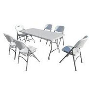 Gartenmöbel Set Klapptisch 180cm und 6 Klappstühle - INTEROUGE