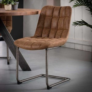 Freischwinger Sessel aus Recyclingleder Braun Edelstahl (2er Set)