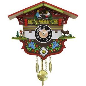 SELVA Schaukeluhr Biberach Schwarzwald-Stil - Made in Germany - In Nussbaum gebeiztes Holzgehäuse, farbenfroh verziert - Hier schlägt das Herz jedes Kuckucksuhren-Liebhabers höher! - C341962