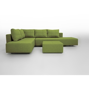 Ecksofa Gemini A mit Bettfunktion, helles Grün, Gästesofa mit Liegeflächen 200x160cm oder 2x 200x80cm