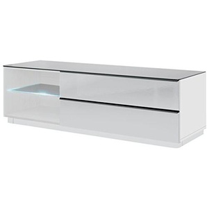 Tv Schrank TOGO Tv Kommode Lowboard Unterschrank mit LED (weiß matt (korpus) / weißglas (fronten) / schwarzglas (obereplatte))