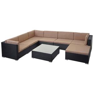 Poly-Rattan Garnitur HHG-323, Gartengarnitur Sitzgruppe ~ schwarz, Kissen creme