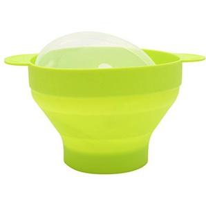 GROOMY Mikrowelle Silikon Schüssel Popcorn Popper zusammenklappbar BPA frei mit Deckel und Griffe - grün