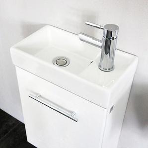 Valencia Handwaschbecken mit Unterschrank Weiss hochglanz VALENCIA40WEISS