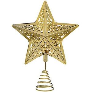WeRChristmas Star Weihnachten Weihnachtsbaumspitze Dekoration, Plastik, Gold, 30 x 23 x 6.5 cm