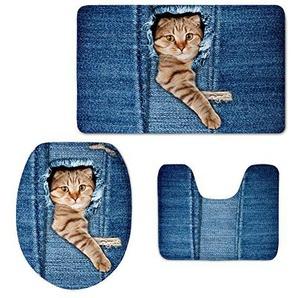 Coloranimal blau Denim Print Bad Teppiche Set süße Katze Hund Muster Badteppich WC-Deckelbezug Modern cat Pattern-3