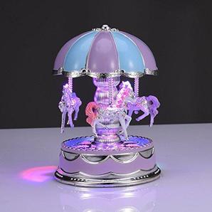 Karussell Spieluhr Leuchtendes Rotierendes 3-Pferd Musik Box Kinder Geburtstagsgeschenk Haus Dekoration (B)