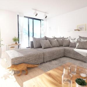 Ecksofa Clovis Hellgrau Strukturstoff Hocker Ottomane Rechts Modulsofa, Design Ecksofas, Couch Loft, Modulsofa, modular