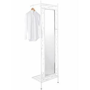 Spiegelgarderobe aus Metall, weiß, Gr. 185/53/35 cm,  home