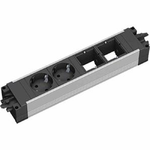 BACHMANN STEP ALU 2xSchutzkontaktsteckdosen schwarz, 35° gedreht 2x Custom Modul + Steckdosen Strom, Länge: ca. 262,5mm