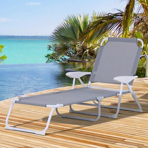 Outsunny® Sonnenliege Klappbare Strandliege 4-stufige Gartenliege Textil Grau