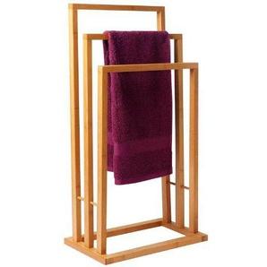 Spetebo Bambus Handtuchständer mit 3 Stangen - Handtuchalter aus Bambusholz