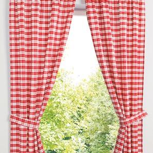Vorhang Set mit Druck (4-tlg-Set) rot