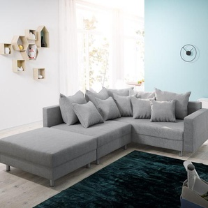 Ecksofa Clovis Grau Flachgewebe Hocker Armlehne Ottomane Rechts Modulsofa, Design Ecksofas, Couch Loft, Modulsofa, modular