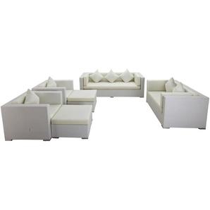 OUTFLEXX Loungemöbel-Set, weiß, Polyrattan, für 9 Personen, wasserfeste Kissenbox
