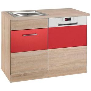 HELD MÖBEL Spülenschrank »Perth« Spülenschrank, Breite 110 cm, mit Tür/Sockel für Geschirrspüler, rot