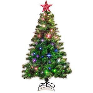 EFORINK 180 LED Tannenbaum, Beleuchteter Weihnachtsbaum LED, Künstlicher Weihnachtsbaum 150cm, Tannenbaum, Dekobaum, Weihnachtsdeko, Künstliche tannenzweige, Rote Stern, Grün