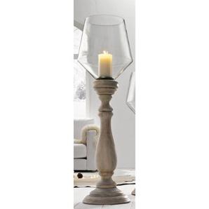 casaNOVA Kerzenhalter /Windlicht H 125 WOODEN GLASS Weiß gewischt/Klar