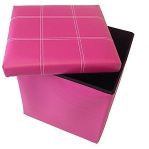 GMMH Hocker Sitzhocker Original 38 x 38 x 38 cm Box Aufbewahrungsbox Sitzwürfel Truhe Fußbank Sitzbank Faltbar (Rosa)