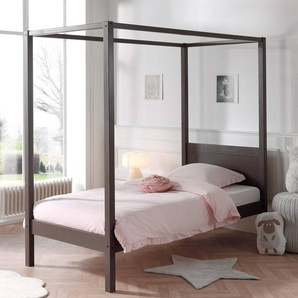 Himmelbett in taupe 90x200cm HILSINKI-12 Einzelbett mit Lattenrost B/H/T ca. 208/191/98cm