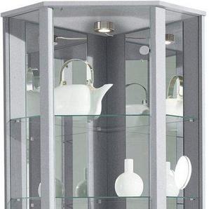 Eckvitrine, Höhe 172 cm, 4 Glasböden, silber