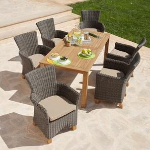 MERXX Gartenmöbelset »Toskana«, 13-tlg., 6 Sessel, Tisch 185x90cm, Polyrattan/Akazie