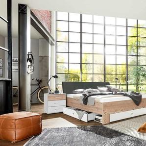 Schlafzimmer 4-tlg. in weiß und Silber Tanne-NB, Abs. in graphit, bestehend aus Kleiderschrank B: 270 cm, Bett 180x200 cm, 2 Nachtschränken B: 52 cm