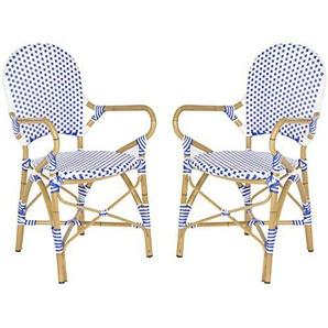 Safavieh Vincentia Bistro Arm Stuhl (2er-Set), Wicker/Rattan, Blau/Weiß,54 X 52 X 88.9 cm