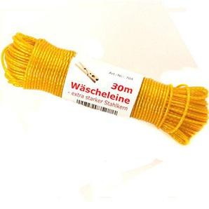 Wäscheleine 30m Stahlseil extra stabil wetterfest !! Top Qualität mit Stahlkern (gelb)