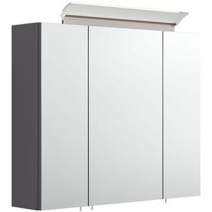 Spiegelschrank 75cm inkl. Design LED-Lampe und Glasböden anthrazit seidenglanz