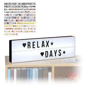 Relaxdays 2 TLG. Light Box Set, Leuchtbox mit 325 Buchstaben & Symbolen, LED Leuchtschild, HxBxT: 15 x 50 x 5,5 cm, weiß/schwarz