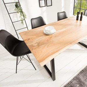 Massiver Baumstamm Esstisch MAMMUT 180cm Akazie industrial Kufengestell 2,6cm Tischplatte Baumtisch