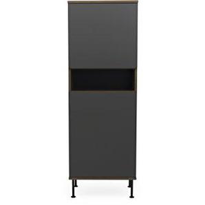 Tenzo DAXX Hochschrank 2 Türen, Spanplatte, Anthrazit/Nussbaum, One Size