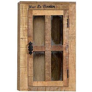 SIT-Möbel Rustic 1902-04 Hängeschrank mit Glastür, ein Einlegeboden, aus Mangoholz, Antik, braun, Wortprints, 44 x 21 x 70 cm