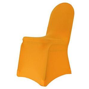 Stuhlhusse Stretch bügelfrei, Stuhlbezug, Stuhlüberwurf, Universal viele Farben (Hellorange)