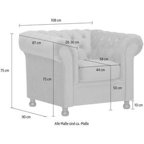 Home affaire Sessel »Chesterfield Home«, mit edler Knopfheftung und typischen Armlehnen, braun, Luxus-Microfaser
