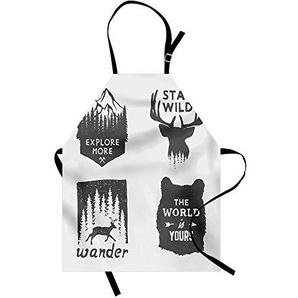 WELQUN Schürze Aprons Schürze Wilderness Emblem Stay Wild Wander Die Kiefer Wildlife Animals Women Kids Kitchen Pinafore Cooking