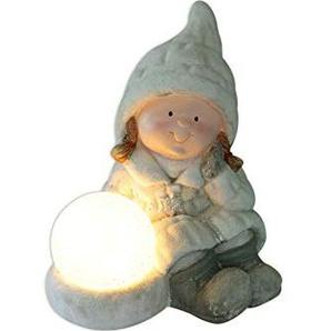X-Mas Mädchen Keramik Figur mit LED-Kugel batteriebetrieben